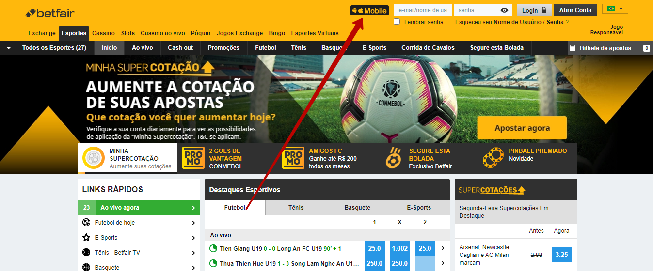 app Betfair em Portugal