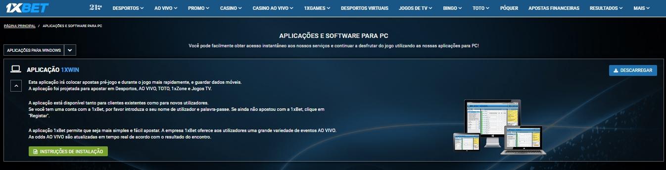 1xBet App: PC versão para usuários.