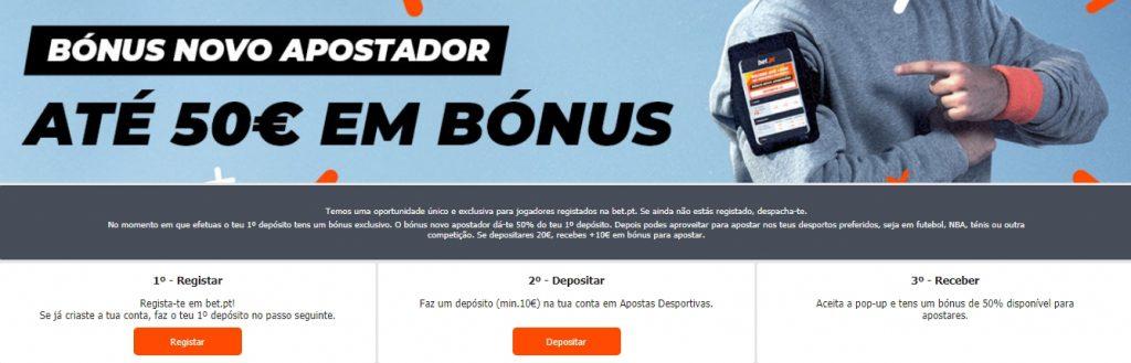 Receber um Bet.pt bonus deposito.