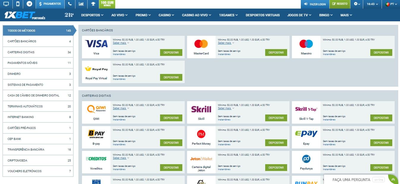 Métodos de pagamento disponíveis na plataforma