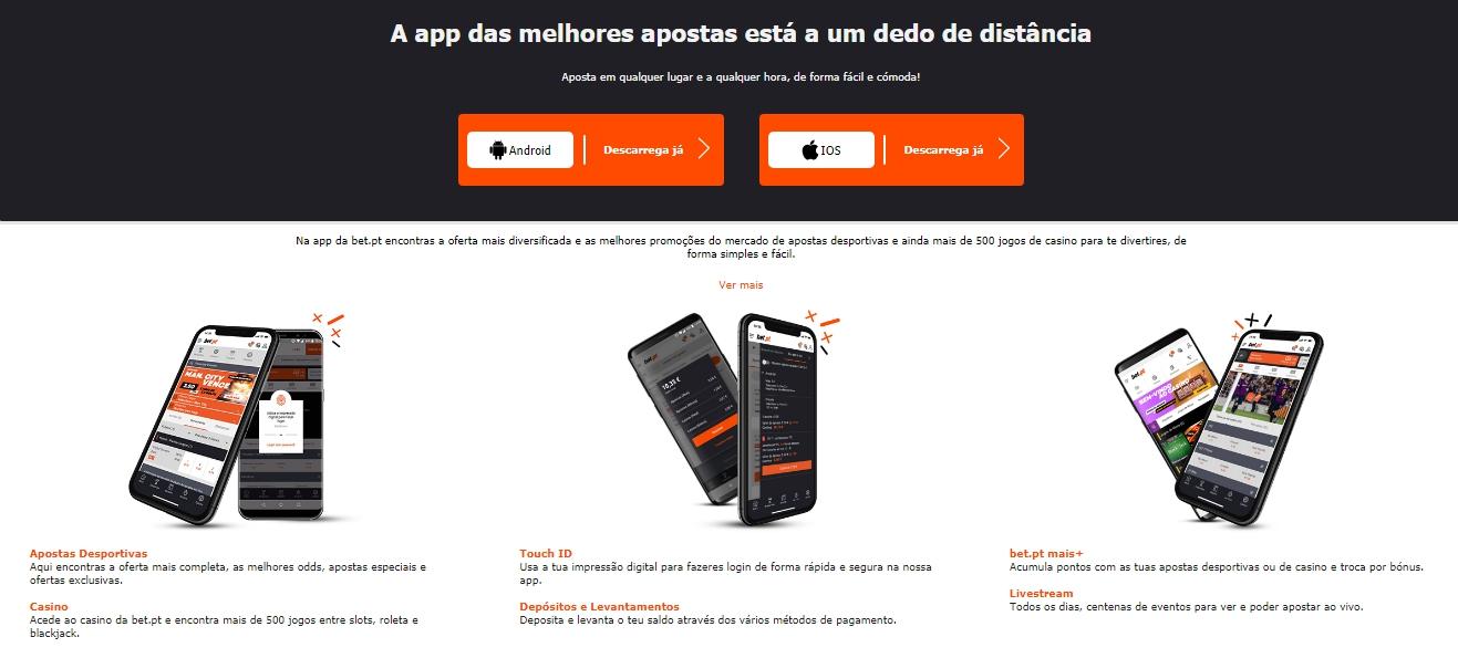 Aplicações móveis da Bet.pt.