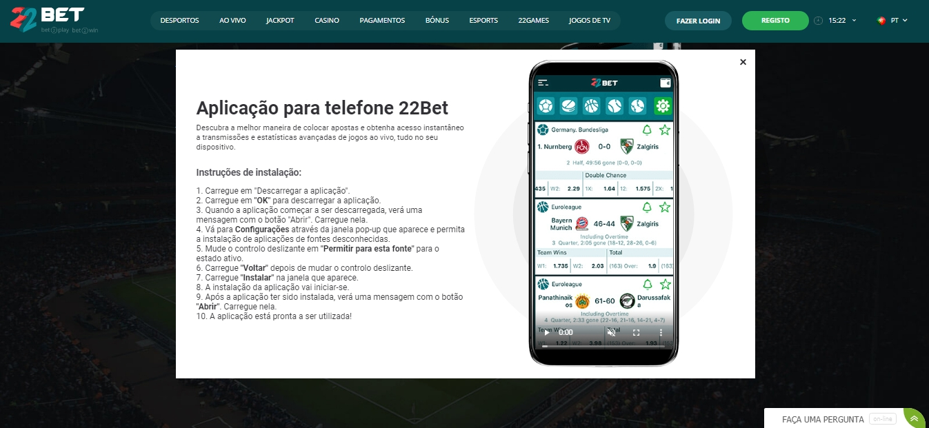 Aplicativo 22Bet para mobile.