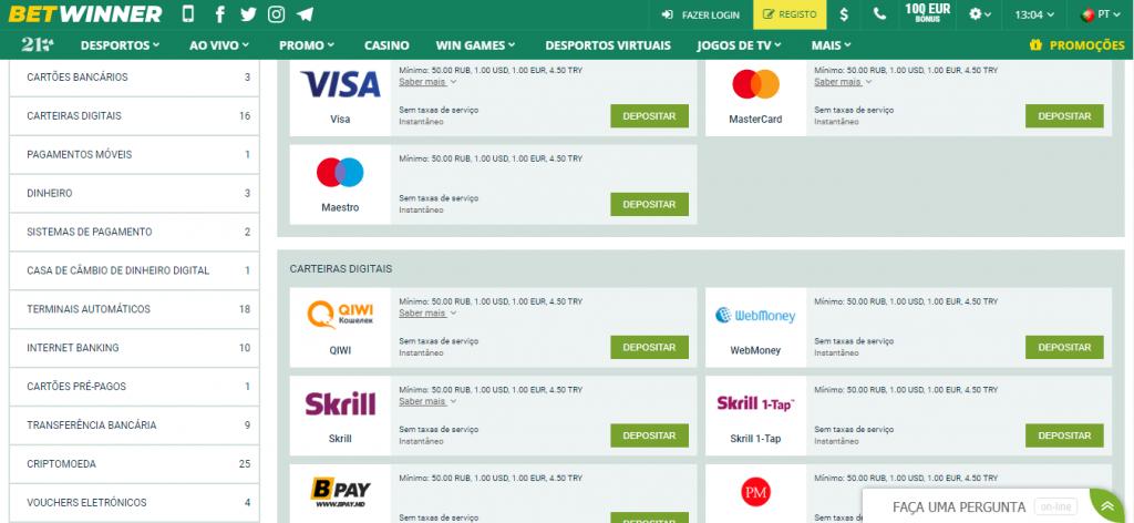 Métodos de pagamento Betwinner.
