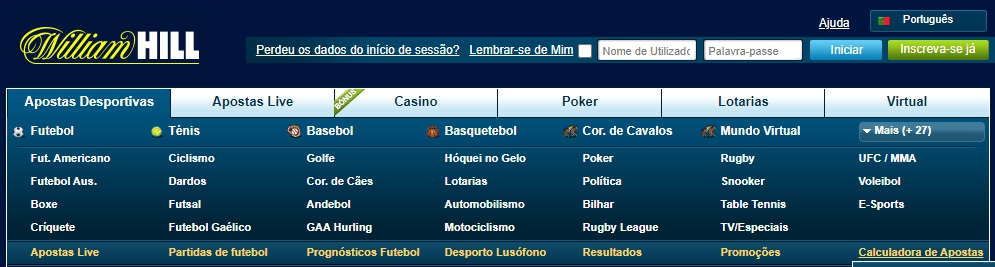 Simples para usar a interface William Hill.