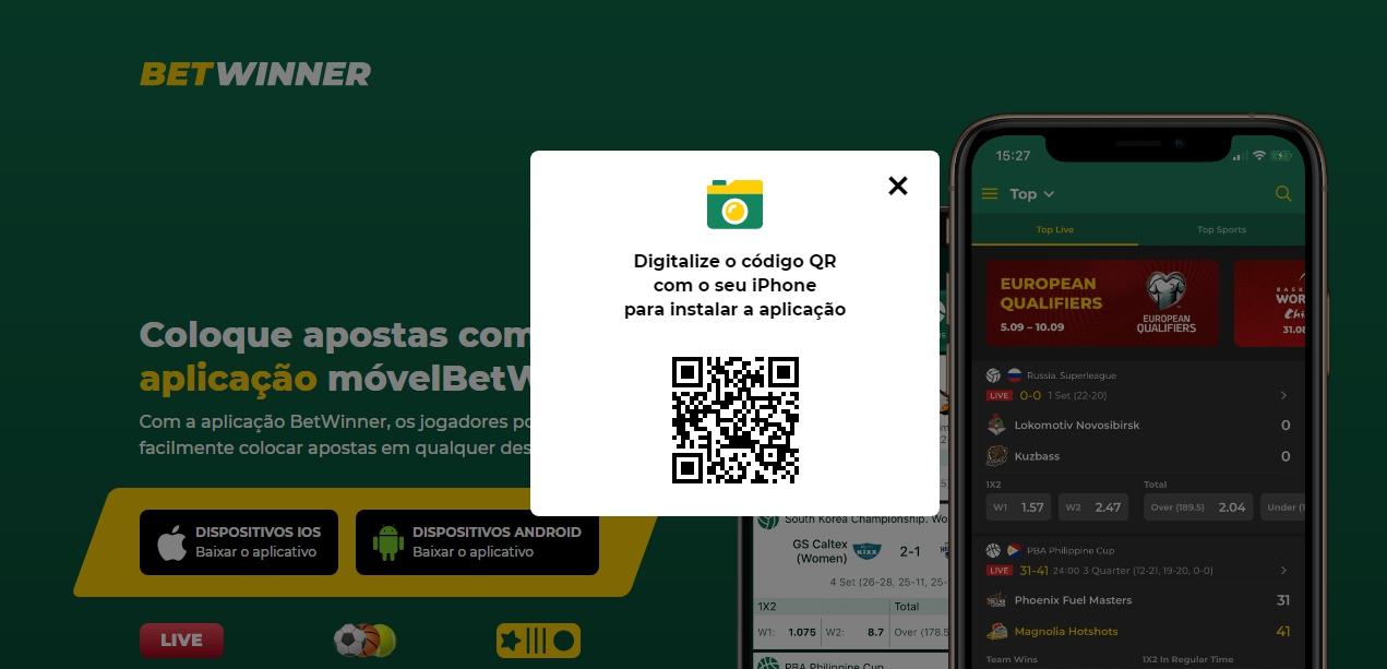 Betwinner app para iOS.