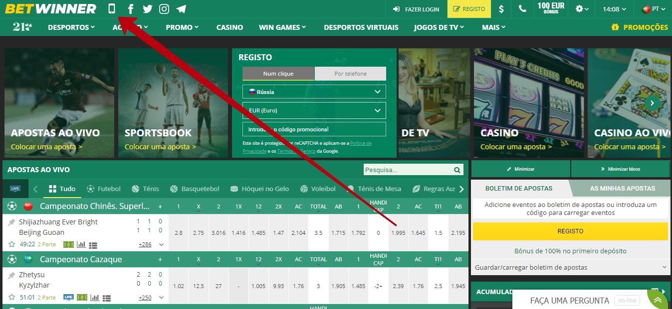 Como obter de Betwinner Portugal app.