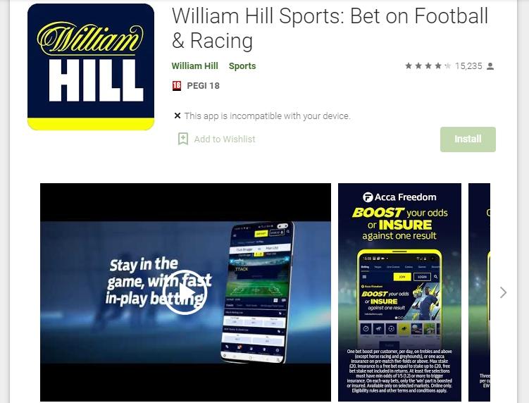 Arquivo apk William Hill para Android.
